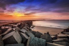 At the end of the pier (Stef van Winssen) Tags: harbour sea seascape dutch clouds sky water sunset lighthouse
