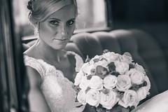 Bride in vintage car (R o b b a n) Tags: wedding fujifilm fuji fujinon xt1 sweden swedish dress bride 56 5612 portrait people bw black white monochrome car veteran buquet flowers