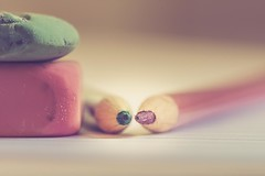 Dream in pink and green (RoCafe) Tags: stilllife macro pencils erasers pink green soft softfocus pastels nikkormicro105f28 nikond600 stationery