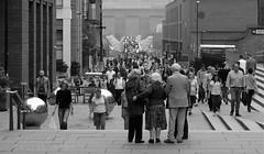 """We'll meet at the Millennium Bridge"" (bellydanser) Tags: bw blackandwhite people architecture buildings london england bridge millenniumbridge crowd pedestrians"
