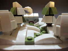 Cottage in snow (noggy85) Tags: lego moc modell winter wonder land trees bäume haus cottage white weis grün green black schwarz micro microscale