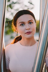 Olga (Chicainvisible) Tags: girl model madrid spain headshot redhead red hair sunset park woman sweet innocence calm pink blue eyes blueeyes redhair