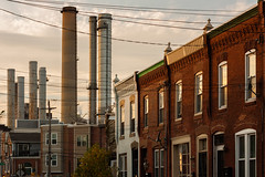 Sunset over Carpenter Street (D. Coleman Photography) Tags: 25th carpenter south philadelphia philly graduate hospital schuylkill generating station river power plant electric infrastructure rowhomes rows architecture urban city stacks smoke electricity sunset clouds sky