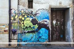 Street art in Granada, Spain (Naomi Rahim (thanks for 3 million visits)) Tags: art granada spain espaa europe europa 2016 travel travelphotography nikon nikond7200 wanderlust streetart streetphotography street graffiti summer siesta grunge elniodelaspinturas blue mural urban door 1116mm