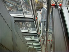 Details of the Shard view down towards the Cathedral and Borough Market (streetr's_flickr) Tags: theshardoflondon highrise panorama tallbuildings structures architecture london city steelwork glazing