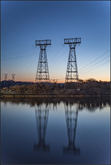 **MORNING REFLECTIONS** (**THAT KID RICH**) Tags: richzoeller zoeller thatkidrich tkr sunrise morning maryland towers lines wired nature reflections water river canon sky colors landscape birds structures island trees power