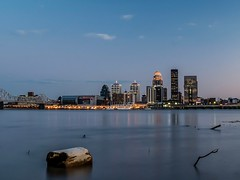 Sunset over Louisville (nicklaborde) Tags: 500px lumix gx8 panasonic long exposures water architecture city travel river no person reflection sunset building cityscape harbor skyline sky downtown waterfront urban evening outdoors