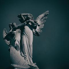 the terror that begot chivalry (jeneksmith) Tags: tragedy grief shipwreck death cemetery graveyard memorial grave statue wings angels blue cyan monotone monochrome metairiecemetery lakelawn bigeasy crescentcity nola neworleans canon louisiana
