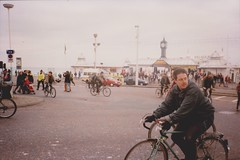Brighton Critical Mass, 1990s (brightondj - getting the most from a cheap compact) Tags: politics protest criticalmass brighton police scan scanned 35mm 1990s palacepier