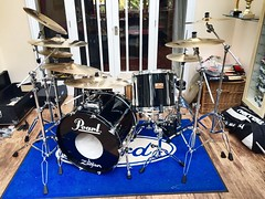 The final incarnation for The Vile. (kevaruka) Tags: nottingham england black color colour sexy apple colors drums photo punk flickr colours snapshot indoor conservatory hardcore drummer pearl thrash meh drumkit nottinghamshire zildjian the ravenshead varukers thevile pianoblack pearlmlx iphone6 kevinfrost august2015