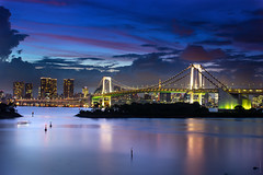Rainbow bridge. 東京 (Fabdub) Tags: longexposure bridge sunset sea sky water japan architecture clouds buildings landscape photography tokyo bay twilight eau cityscape view nightshot graphic pentax horizon ciel 日本 tokyotower nippon 東京 bluehour crépuscule extérieur nuit 建物 rainbowbridge tokio twop brillant 虹の橋 frontdemer cipango theperfectphotographe pentaxart flickrunitedaward 一晩