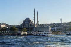 Eminn, Istanbul (CarolineKarolyteaPhotography) Tags: travel sea summer panorama architecture turkey landscape ship turkiye istanbul mosque bosphorus marmara estambul eminonu bosfor iskelesi