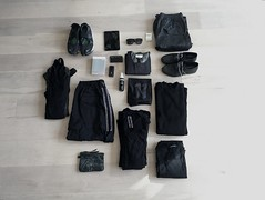 Packing (electricgecko) Tags: packing monochromatic whatsinyourbag whatsinmybag acronym y3 airrift rickowens damirdoma acrnm thelastconspiracy 11bybbs