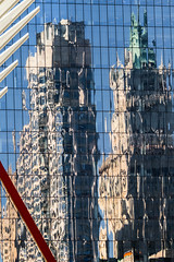 Lower Manhattan Reflections (andryn2006) Tags: newyorkcity newyork glass architecture skyscraper unitedstates manhattan stegosaurus woolworths glasscurtainwall oneworldtradecenter