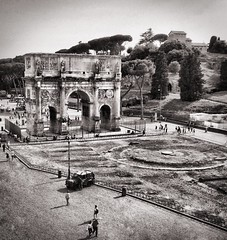 View of The Arch of Constantine from the Colosseum (Spodeworld) Tags: bw rome mobile arch constantine colosseum iphone archofconstantine enlight