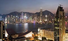 HongKong Harbor at dusk  037A0048 (lycheng99) Tags: city sky hk water architecture buildings reflections hongkong lights harbor asia dusk citystreets  kowloon victoriaharbour victoriaharbor hongkongharbour hongkongharbor hongkongskyline