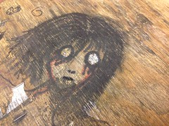 art on a desk. december 2015 (timp37) Tags: boy wild chicago man art girl lady hair sketch illinois scary eyes artist december desk drawing no unknown 2015