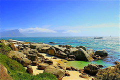 Bliss in South-Africa .. (mfreespiritv) Tags: ocean africa summer sky beach nature colors beautiful clouds southafrica amazing sand rocks waves couleurs sable peaceful capetown ciel gift dreams bliss t vagues plage bonheur paysages mothernature coquillages afrique pinguins ocan rves