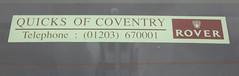 Quicks of Coventry Rover dealer sticker (Spottedlaurel) Tags: rover 1990s quicksofcoventry
