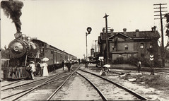 Railroad Locomotive Being Greeted at Portage Depot