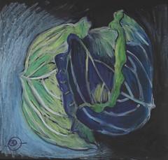 Cabbage (Marcia Milner-Brage) Tags: inktober inktober2016 stilllife whiteink brushpen neocoloriiwatersolublewaxpastels blackpaper marciamilnerbrage food