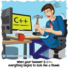 Hammer - Webcomic about web developers, programmers and browsers (browserling) Tags: cartoon comic webcomic joke browser browserling crossbrowsertesting webdeveloper webdesigner webprogrammer hammer thumb injury programming desk computers cpp cpplanguage cplusplus programminglanguage webdev developer designer programmer geek nerd internet web cartoons comics webcomics jokes browsers webdevelopers webdesigners webprogrammers webdevelopment developers development designers programmers geeks nerds internets