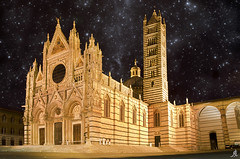 Siena Cathedral square (Alessandro Giorgi Art Photography) Tags: siena italy italia europa cathedral duomo chiesa church night nightsky stary stellato stars stelle nightview nightscape citt city italiana square piazza tripod longexposure dark notte notturno outdoor monument monumento nikon d7000 europe tower belltower