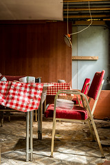 Guten Appetit! (Anne Ullmann) Tags: urbex urbanexploration chair table red lostplace holidays camp gdr ddr rotten decay verlassen rot tisch テーブル ドイツ 廃墟 探索 廃墟探索