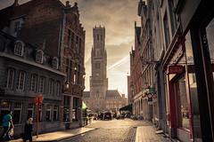 Morning Mirage / Mirage matinal (Gilderic Photography) Tags: bruges belgium belgique belgie brugge street city canon 500d gilderic morning light tower beffroi belfry