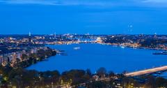 Stockholm from the sky (Maria_Globetrotter) Tags: img0019 mälaren lakemalar stockholm kungsholmen stadshuset cityhall night bridge västerbron södermalm riddarholmen norrmälarstrand södermälarstrand