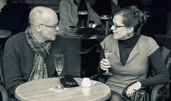 Portrait (Natali Antonovich) Tags: belovedbrugge brugge bruges belgium belgie belgique portrait talk monochrome terras cafe mood smile profile stare lifestyle glasses tradition