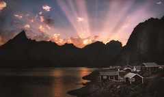 Arctic Summer Dream (VandenBerge Photography) Tags: lonelyplanet lofoten hamnøy mountains islands norway nordland north rorbuer midnightsun season water reinefjord reine sunrays clouds sky cabin europe travel canon arcticsummer arcticcircle nature