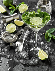Cocktail drink with lime, mint, ice. Bar tolls ingredients (o.dnepr) Tags: cocktail drink mint lime mojito ice party aperitif gin vodka rum liquor juice caipirinha green garnish bar lemonade glass ingredient birthday cold alcohol holidays beverage accessories celebration wine cheers nobody object white newyear blackbackground crystal sparkling congratulations vine two valentinesday secco sekt dessert toast martini germany