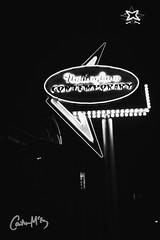 Nottingham Contemporary. (Caitlin McEvoy) Tags: nottingham contemporary night photography canon canon550d signage vintage americana nightphotography streetphotography blackandwhite monochrome