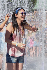Cooler (peterkelly) Tags: digital canada northamerica womenexpression montreal quebec 2016 osheaga osheagamusicartsfestival festival fountain sunglasses woman tiedye smiling smile laughing laughter headband beautiful water wet shorts