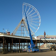 20161123 Blackpool Big Wheel dismantled (blackpoolbeach) Tags: blackpool central pier big ferris wheel dismantled maintenance safety mobile crane commhoist testing beach sand