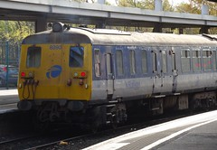 Northern Ireland Railways, Sandite Train, Belfast Central November 2016 (nathanlawrence785) Tags: nir uta 80 class demu train dmu 450 brel br northern ireland ni railways railway rail sandite rhtt head treatment belfast central station platform autumn pwd pw yellow network 8090 8094 8069 8097 8752 thumper english electric ee 4srkt engine diesel unit power car carriage coach mk2 stock permanent way leaf leaves