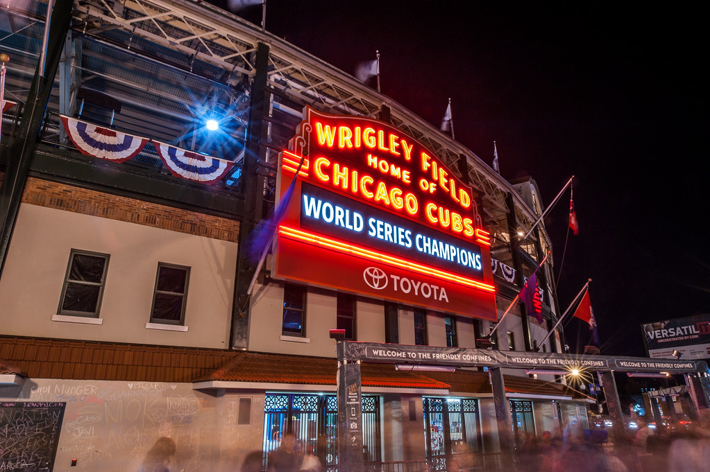 "I never thought I would see the day that the Wrigley Field marquee said ""World Series Champions""."