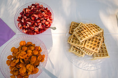 scrumptious (KieraJo) Tags: wide angle canonef24mmf14liiusm l lens canon 5d mark 3 iii 5d3 fullframe dslr wedding reception detail shot waffles fruit apricots strawberries table from above diy backyard
