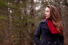 Day Fifty Seven (k.a.craig) Tags: girl woman lady female brunette brown hair red scarf peacoat coat jacket cool winter fall cold beautiful beauty pretty gorgeous portrait outdoor outside forest trees nature 365