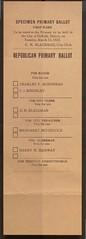 Specimen Primary First Ward Republican Ballot, 1923 (Regional History Center & NIU Archives) Tags: niu northernillinoisuniversity students campus politics vote votingrights voting activism ballot poll ticket republican