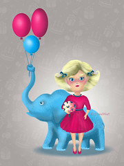 HB2 (SteelNat) Tags: digitalart steelnat art  happybirthday card        elephant balloons doll bouquet flowers girl