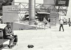 Clarinetist @ work (czuerbig) Tags: street streetphotography musician summer sun monochrome film analog adox silvermax100 iso100 leica m6 summicron 50mm