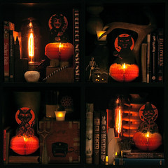Beastly Bookshelf (at night) (bindlegrim) Tags: decorations stilllife orange holiday black halloween night cat dark square skeleton layout moody display witch library scarecrow objects books shelf collection devil bulbs spatial candlelight antiques spines honeycomb arrangement quarters collectibles bogle subdivided fourths