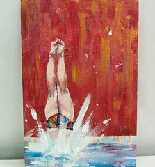 "Dive in! Acrylics, 4"" x 6"" #apad #apaintingaday #art (studiokatto) Tags: art apad apaintingaday"