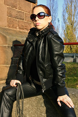 Cora 10 (The Booted Cat) Tags: red sexy girl leather hair model pants whip tight mistress dominatrix