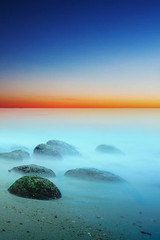 Silence of the sea (Johan_Lithun) Tags: longexposure sunset sea beach colors singapore silence bluehour seascap
