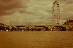 Looking to the Eye (The_Kevster) Tags: leica sky bw london water monochrome wheel thames clouds river bridges londoneye rangefinder landmark riverthames countyhall summicron50mm leicam9
