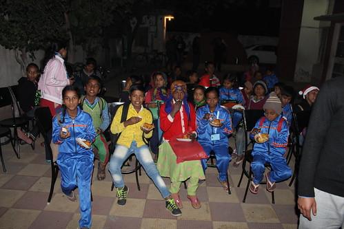 Ashiana children celebrating Christmas with LinguaSoft staff