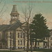 NW Traverse MI Circa 1908 CENTRAL HIGH SCHOOL Main Building and Grounds Dirt Street Horse and Buggy and early Automobile Era PHOTOGRAPHER ORSON PECK CARD1